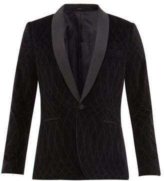 Paul Smith Shawl-lapel Patterned Velvet Tuxedo Jacket - Mens - Black