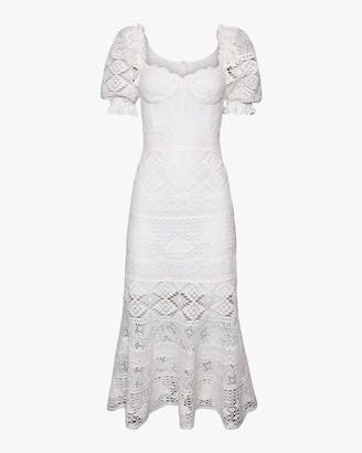 Jonathan Simkhai Eden Puff-Sleeve Bustier Midi Dress