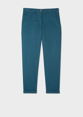 Paul Smith Women's Teal Boyfriend-Fit Stretch-Cotton Chinos
