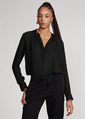 Ralph Lauren Silk-Blend Long-Sleeve Blouse