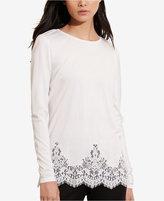 Lauren Ralph Lauren Petite Lace-Hem Jersey T-Shirt