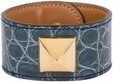 One Kings Lane Vintage Hermes Gray Croc Medor Bracelet - Vintage Lux - gray/gold
