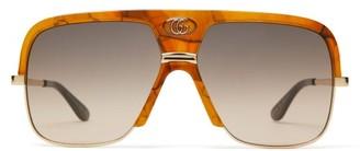 Gucci Monogram Navigator Acetate Sunglasses - Mens - Tortoiseshell