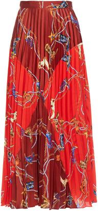Sandro Paneled Pleated Printed Twill Midi Skirt