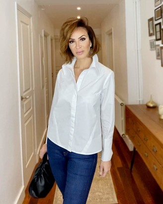 The Drop Women's White Button Down French Cuff Shirt by @sabthefrenchway M