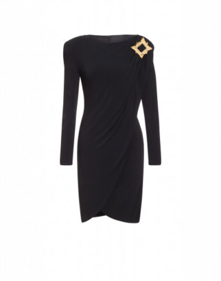 Moschino Jersey Dress Gold Frame Woman Black Size 38 It - (4 Us)