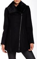 Dawn Levy Asymmetrical Zip Genuine Rabbit Fur Trim Wool Jacket