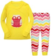 Mammybaby Owl Little Girls Pajamas Set Cotton Baby Clothes T2