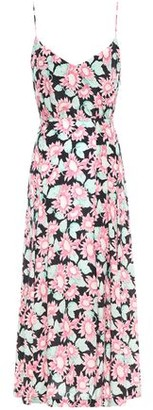 Les Rêveries Pleated Floral-print Silk Crepe De Chine Midi Dress