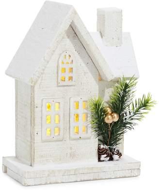Glucksteinhome Modern Vintage Wooden Snowy House Figurine