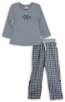 Princess Linens Black & Gray Monogram Top & Plaid Bottoms - Toddler & Boys
