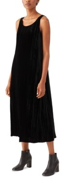 Eileen Fisher Velvet Crewneck Dress and Open-Front Cardigan