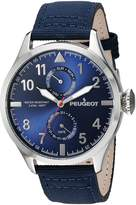 Peugeot Men's Silver Blue Nylon Band Day Date Calendar Aviator Weekend Watch 2044SBL