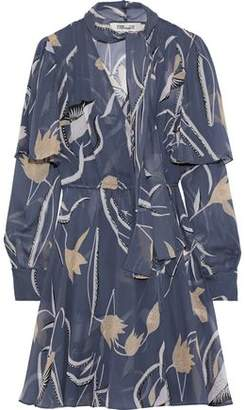 Diane von Furstenberg Layered Printed Silk-chiffon Mini Wrap Dress