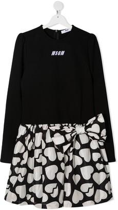 Msgm Kids TEEN heart print long-sleeve dress