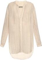 Raquel Allegra Step-hem striped cotton shirt