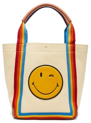 Anya Hindmarch Pont Small Stripe-trimmed Canvas Tote Bag - Multi