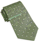 Gold Series Textured Dot Silk Tie with Enamel Tie Bar Casual Male XL Big & Tall