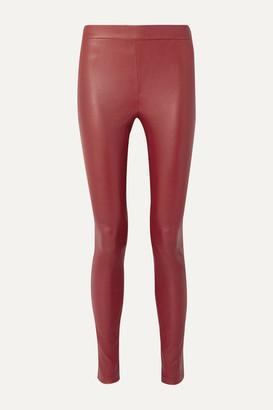 Helmut Lang Stretch-leather Leggings - Claret