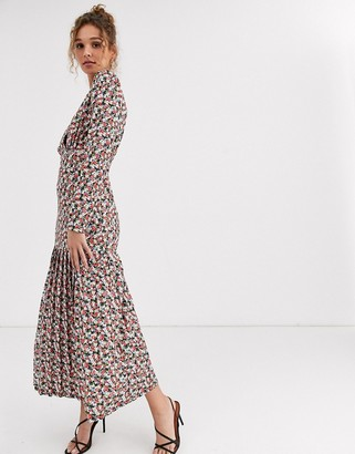 Asos DESIGN floral print long sleeve maxi tea dress