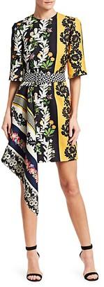 Oscar de la Renta Contrasting Print Asymmetric Short Dress