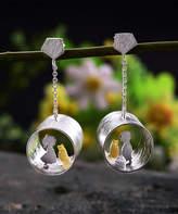 Lotus Fun Women's Earrings Silver - Sterling Silver Cat & Child Open Tube Drop Earrings