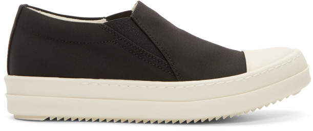 Rick Owens Black and Off-White Canvas Boat Sneakers
