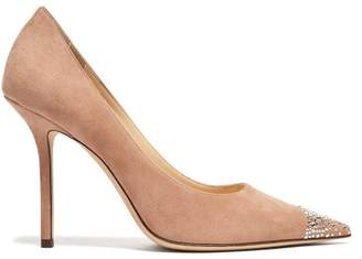 Jimmy Choo Love 100 Suede And Crystal Pumps - Womens - Nude