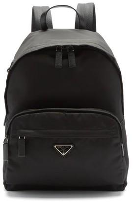 Prada Logo-plaque Leather-trimmed Nylon Backpack - Black