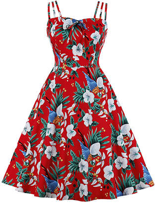 Mike Is Women's Casual Dresses Red - Red Floral Sleeveless Tie-Front Fit & Flare Dress - Women