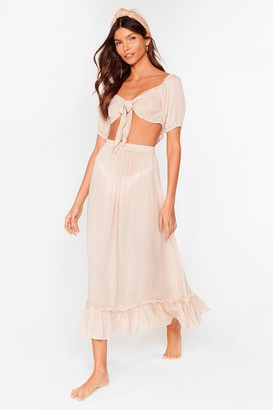 Nasty Gal Womens Summer Nights Tie Crop Top and Maxi Skirt Set - Stone
