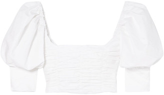 Georgia Alice Puff Cropped Ruched Cotton-poplin Top