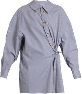 Awake Wrap-effect striped cotton-poplin shirt