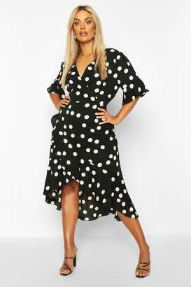 boohoo Plus Polka Dot Tie Waist Ruffle Midi Dress