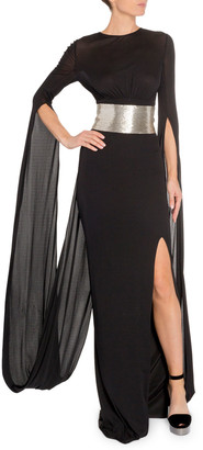 Tom Ford Silver-Belted Drape-Back Gown