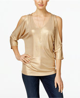 INC International Concepts Metallic Cold-Shoulder Top, Only at Macy's