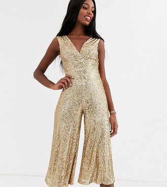 John Zack Tall sequin wide leg jumpsuit in gold