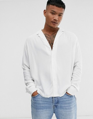 ASOS DESIGN relaxed fit viscose shirt with low revere collar in white