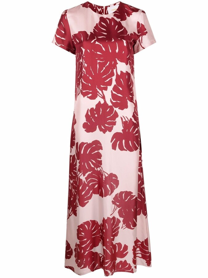 Thumbnail for your product : La DoubleJ Floral Maxi Flared Silk Dress