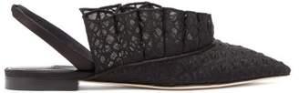 Andrea Mondin - Odette Embroidered Ruffle Slingback Sandals - Womens - Black