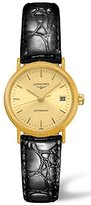 Longines Women's 25.5mm Black Leather Band Steel Case Automatic Gold-Tone Dial Analog Watch L4.321.2.32.2