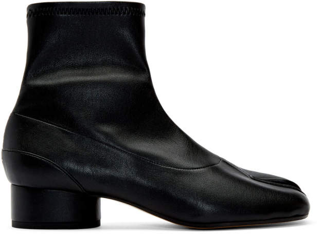 63e270ee97b Black Stretch Low Heel Tabi Boots