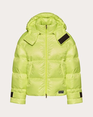 Valentino Duvet Couture Down Jacket With Hood Man Florescent Yellow Polyester 100% S