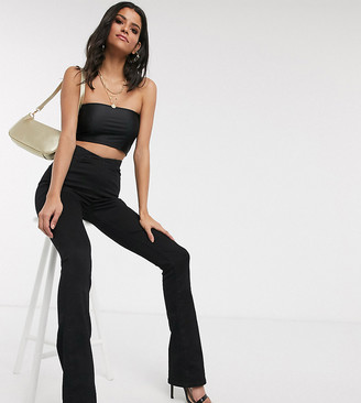 Asos DESIGN Tall v-front soft flare jeans in clean black