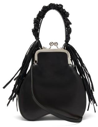Simone Rocha Crocheted Raffia-trimmed Leather Clutch - Womens - Black