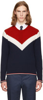 Thom Browne Tricolor Saddle Sleeve Crewneck Pullover
