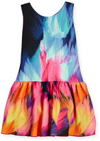 Zoë Ltd Sleeveless Flame Dropped-Waist Scuba Dress, Multicolor, Size 7-16