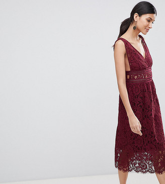 Y.A.S Tall lace midi skater dress in burgundy-Red