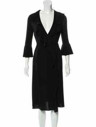 Dolce & Gabbana Ruffle-Accented Midi Dress Black