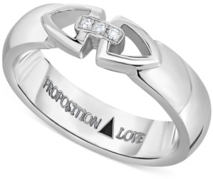 Proposition Love Diamond Triangle Motif Unisex Wedding Band in 14k White Gold (1/10 ct. t.w.)